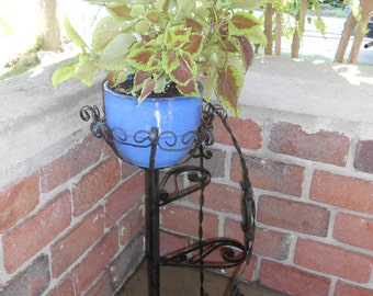 Vintage Mid Century Black Wrought Iron Plant Stand for four pots