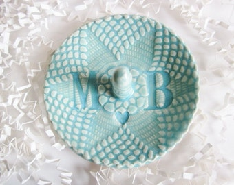 Ring holder, Mr and Mrs, Initials M and B in stock,  brides gift, monogrammed, personalized gifts