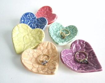 5 Heart dishes, Ring dish, Ring holder, Birthday favors, wedding favors, bridal shower favors, Gift