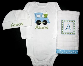 Custom Personalized Applique TRAIN and NAME Bodysuit, Burp Cloth, and Hat Set - Lt Blue and Lime Green