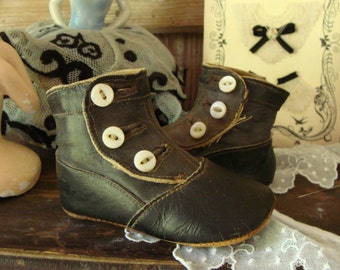 Antique Old  Edwardian Gorgeous High Button Boots for small Child or Doll
