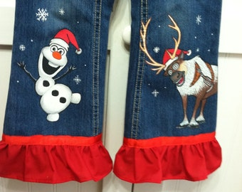 Custom Disney  clothing Painted Frozen Christmas Olof, Anna, or Els......2.......character jeans with Ruffle. Sz 12 m to 24m/ 2T to 12 teen