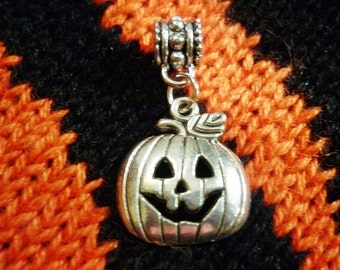 Jack O' Lantern Charm Pendant,Pumpkin Dangle charm, European charm
