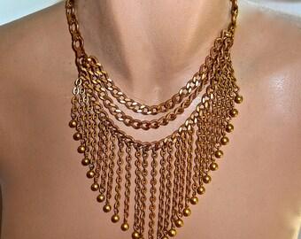 Elegant Vintage Gold Chain Choker - Egyptian Revival  Necklace