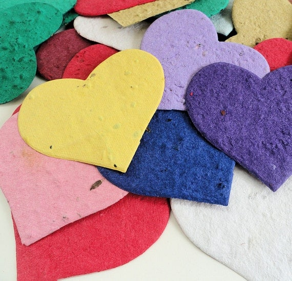 "3"" Plantable Seed Paper Hearts - diy wedding favors, place cards, save the date cards, creative invitations"