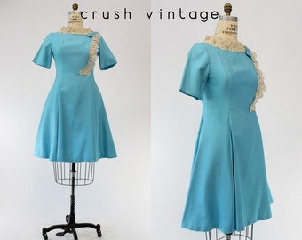 60s Dress Emma Domb Medium / 1960s Fit and Flare Lace Dress / For Your Love Frock