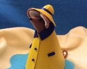 Felt Mouse in Yellow Slicker  art doll  miniature