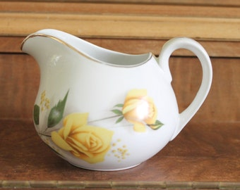 vintage creamer royal bouquet Crown Essex Stafforshire,made in England,yellow roses creamer,white creamer