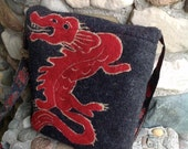 Red Dragon Asian Inspired Felted Wool Messenger Cross Body Bag