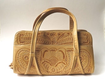 vintage Light Caramel Brown Hand Tooled Leather Handbag / Made in Mexico