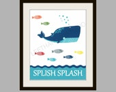 Target Circo FISH Collection Art Print, WHALE Bath Decor, Tropical FISH Wall Art, Childrens Bath Art