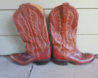 Vintage Tony Lama Brown Lizard and Leather Cowboy Boots MENS size 81/2 B Pointed Toe Style 8540 Size 8.5B