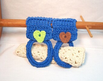 Kitchen Towel Holders for the home with applique heart buttons in a 2-pack. Towel, dishcloth, and washcloth can all go through the ring.