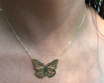 METAMORPHOSIS Brass Monarch Butterfly 14 K Gold Filled Thin Chain Necklace Bridesmaid Jewelry