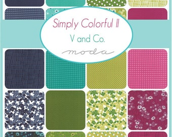 SUMMER SALE - Simply Colorful 2 - Layer Cake Bundle - Blue, Green, Purple - by Vanessa Christenson of V and Co. for Moda Fabric