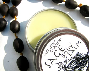 sage body balm- moisturizer on the go! made with 4 kinds of sage-- like a smudge stick in salve form for clearing!