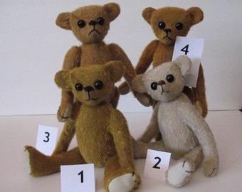 """Wonderful  11"""" OOAK fully jointed mohair teddy bears"""