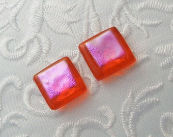 Pink Earrings - Dichroic Earrings - Stud Earrings - Post Earrings - Fused Glass - Glass Earrings - Small Post X1148