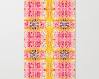 Pink and yellow rug, symmetrical style pattern abstract area rug childrens bedroom rug living room decor pink floor decor, kitchen floor rug
