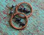 Copper Hoop Earrings, Hammered Copper Jewelry
