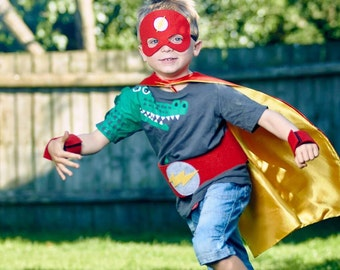 Personalized Superhero Kit - Super Hero Cape, Mask, Cuffs and Belt, Ideal for Halloween Costume or Dress Up