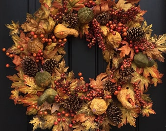 Autumn Harvest Wreath, XL Fall Wreath, Wreath with Gourds,Foliage Wreath,Artificial Fall Wreath,Fall Wreath Front Door, Fall Colors