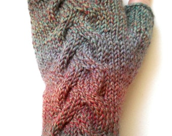 Handknit Fingerless Gloves for Women, Teen Girls, Texting Gloves, Hand Warmers, one of a kind, cable pattern, shades of green, red, purple