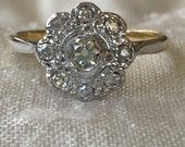 Victorian Old Mine Cut .59 Carat Diamond Halo Flower Ring