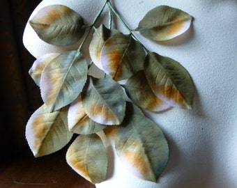 SALE Green Silk Leaves Vintage German Green & Apricot Ombre for Bridal, Boutonnieres, Hats, Headbands ML 134