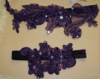 Sale on Plum Garter,Dark Purple Garter,Plum  Wedding,Aubergine Garter,Rhinestone Garter,Aubergine Wedding Garter,Plus size Garter