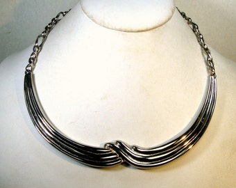 Silver Waves Metal Bib on Silver Adjustable Chain Necklace , 1980s Elegance and Simplicity