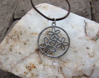 Sterling Silver Flower Pendant on Brown Leather Cord