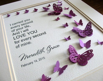 I Carried You Every Second of Your Life, Love You All of Mine. Personalized 3D Butterfly Art. Stillbirth, Miscarriage. 8x10. Made to Order