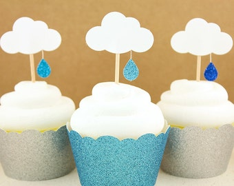 Baby Shower Cupcake Toppers - Set of 12  Glitter Rain Drop Cloud toppers
