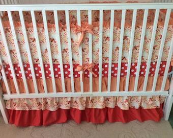 Honeybee Shades of Peach and Dark Coral Ruffled Crib Bedding Set