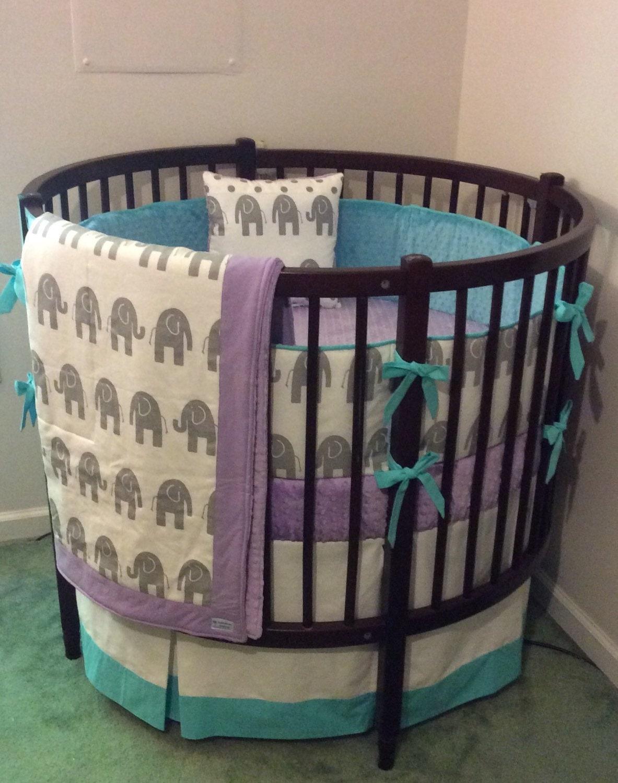 Round Crib Bedding Set Aqua Purple And Gray Elephant