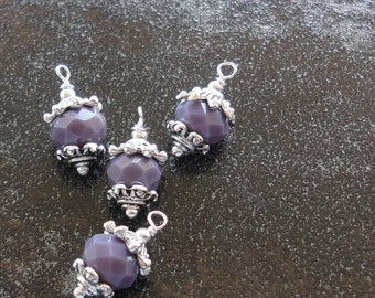 Opaque Purple faceted  crystal beads  pendant dangles