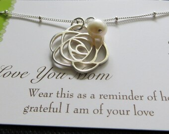 Mother of the bride rose necklace, rose pendant, mother of the bride gift, wedding party