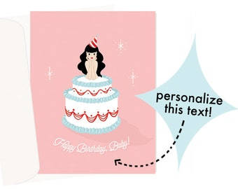 Birthday Baby (Pink) - PERSONALIZE this card! - Blank Card - 1 pc
