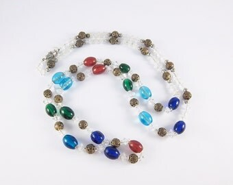 Vintage Colorful Glass Bead Necklace