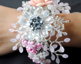 Pink Crystal Beaded Floral Wrist Corsage, Cuff, or Bracelet, Flower or Floral Accessories- Emilia