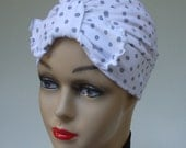 Stretch Chic Cotton Lycra Turban, White with Gray Dots, Bow Knot for Chemo, Bathing, Sleeping, Size Small (2)