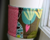 ON SALE Coffee cozy- pink and brown patchwork