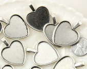 Heart Setting - 35mm Heart Shaped Silver Color Setting Charm - Zinc Alloy Blank Cabochon Bases or Settings - 6 pc set
