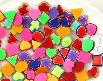 12mm Tiny Mixed Shapes Bright Striped Neon Rainbow Resin Cabochons - 20 pc set
