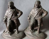 c1920s Figural Arabian Knight Cast Iron Bookends