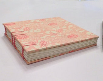 Stenciled Peony in Pink Sketchbook- Ready To Ship