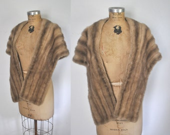 Mink Fur Stole Cape / HAZELNUT / wedding or party
