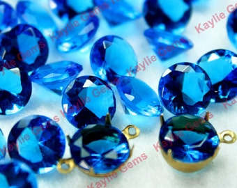 Glass Jewel 10mm SS45 Round Pointed Back Unfolied- Ocean Blue