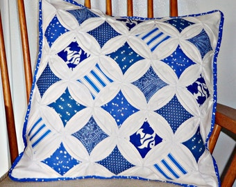 Quilted Cathedral Window Pillow Cover Blue and White